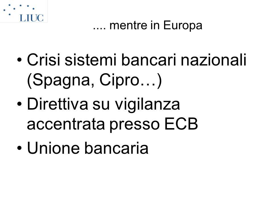 Crisi sistemi bancari nazionali (Spagna, Cipro…)