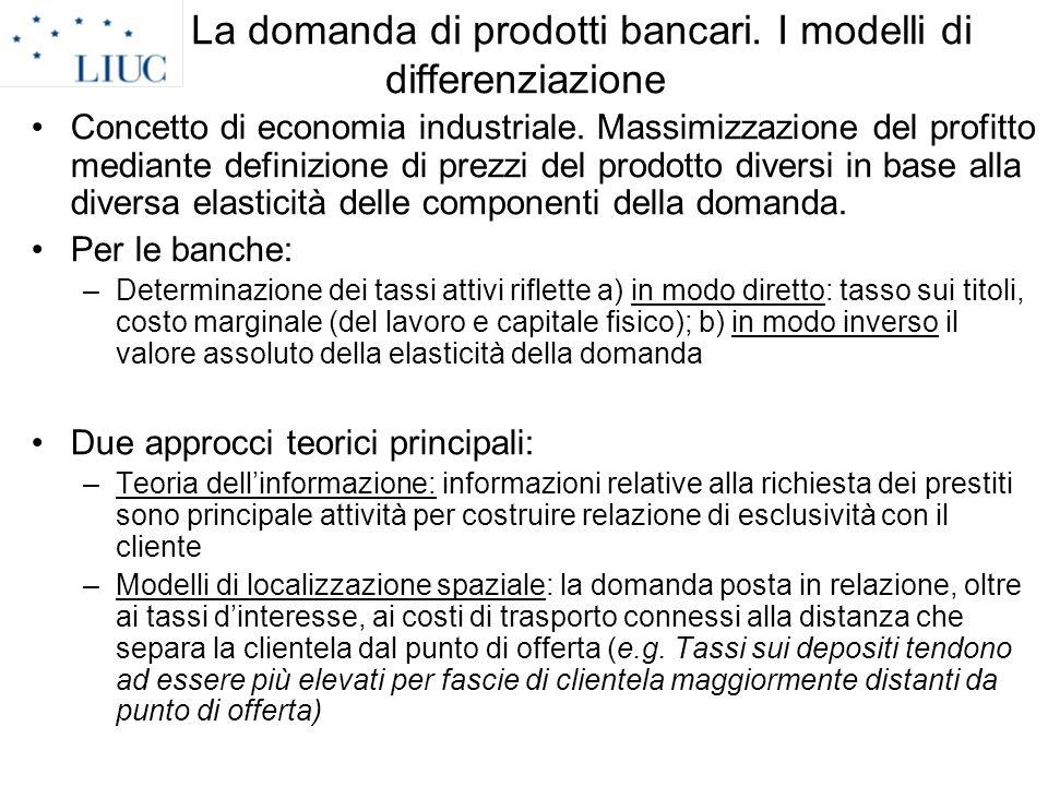 La domanda di prodotti bancari. I modelli di differenziazione