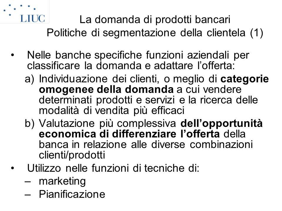 La domanda di prodotti bancari Politiche di segmentazione della clientela (1)
