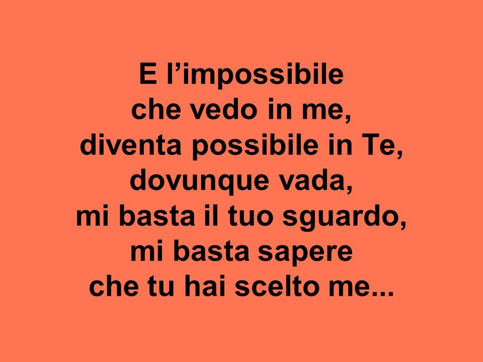 E l'impossibile che vedo in me, diventa possibile in Te, dovunque vada, mi basta il tuo sguardo, mi basta sapere che tu hai scelto me...