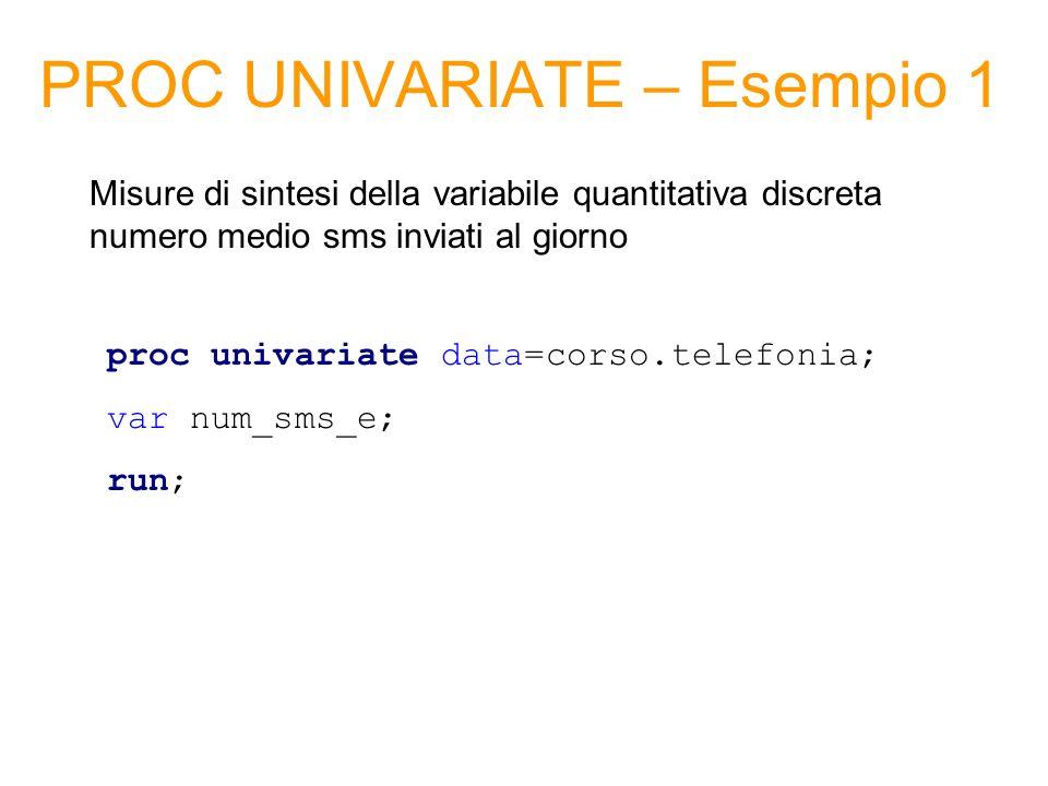 PROC UNIVARIATE – Esempio 1