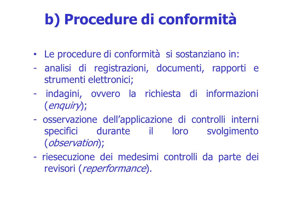 b) Procedure di conformità
