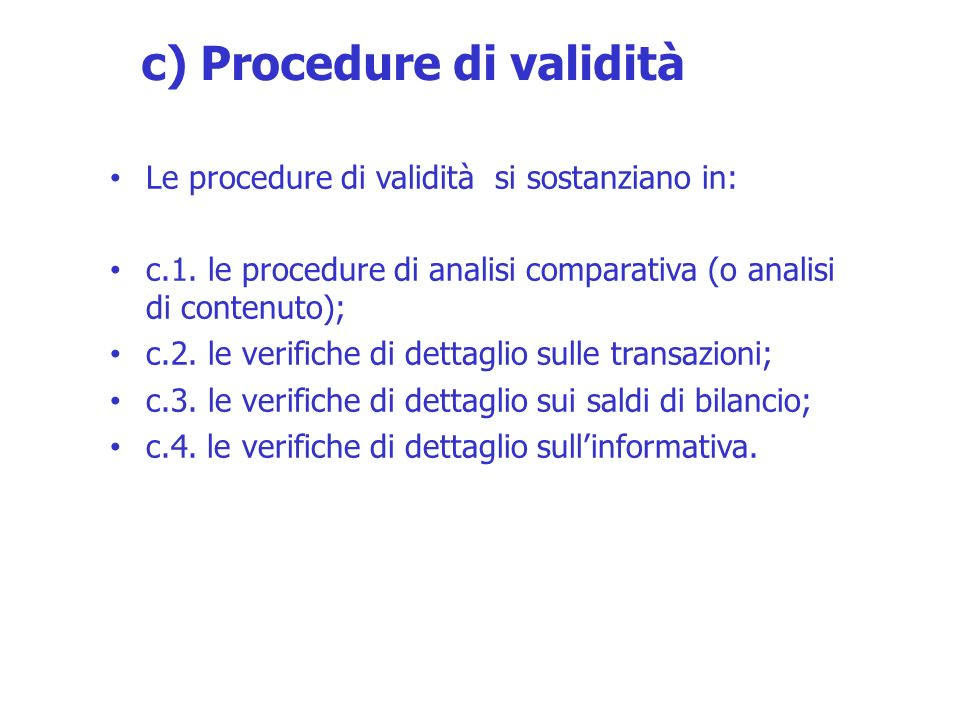 c) Procedure di validità