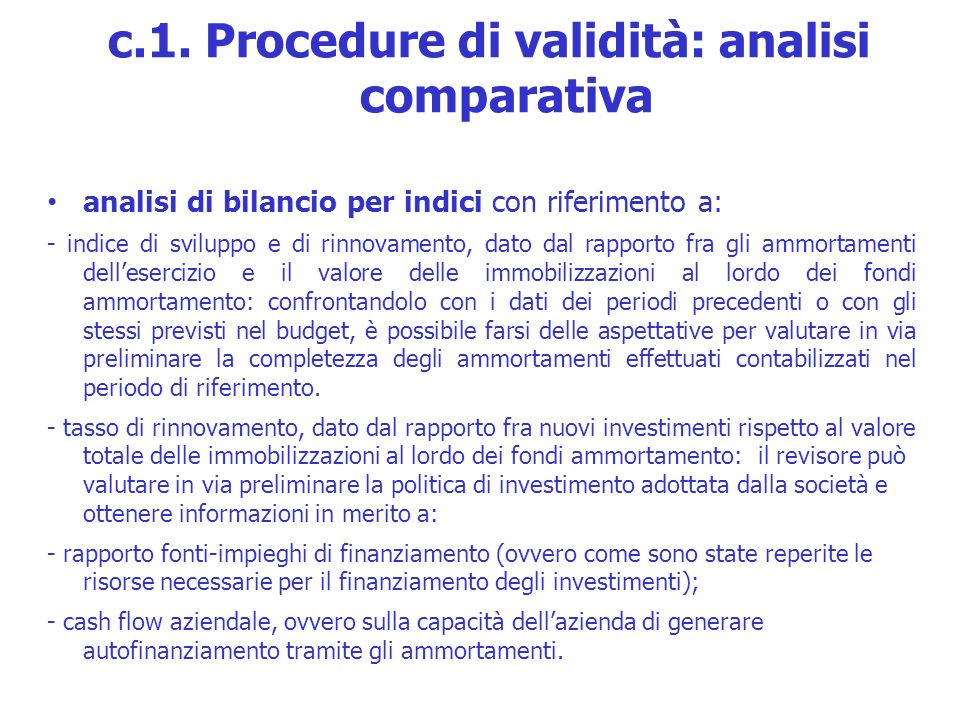 c.1. Procedure di validità: analisi comparativa