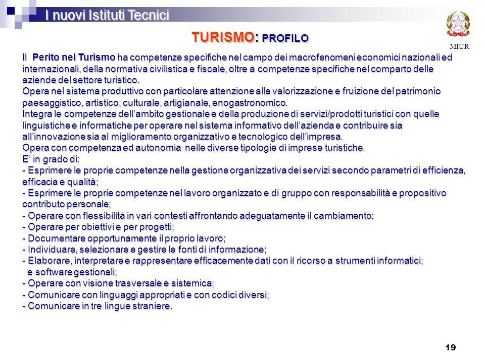 I nuovi Istituti Tecnici TURISMO: PROFILO