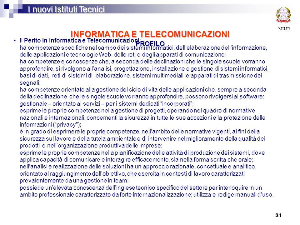 INFORMATICA E TELECOMUNICAZIONI PROFILO