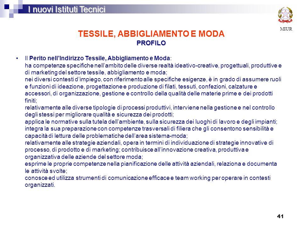 TESSILE, ABBIGLIAMENTO E MODA PROFILO