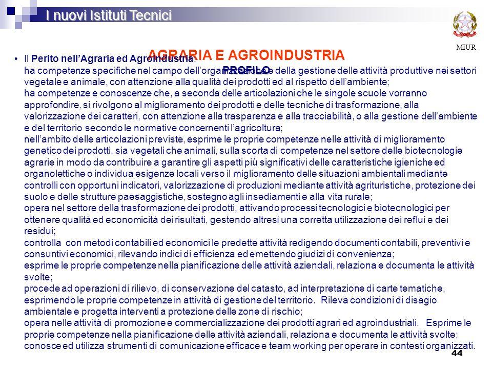 AGRARIA E AGROINDUSTRIA PROFILO