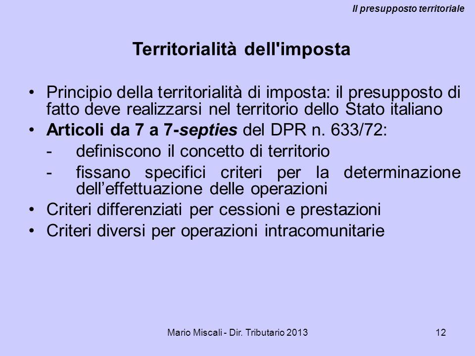 Il presupposto territoriale Territorialità dell imposta