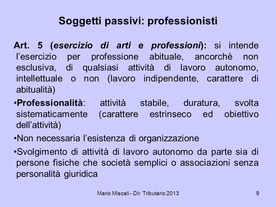 Soggetti passivi: professionisti