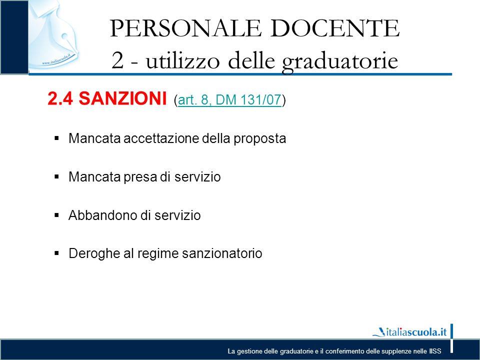 PERSONALE DOCENTE 2 - utilizzo delle graduatorie