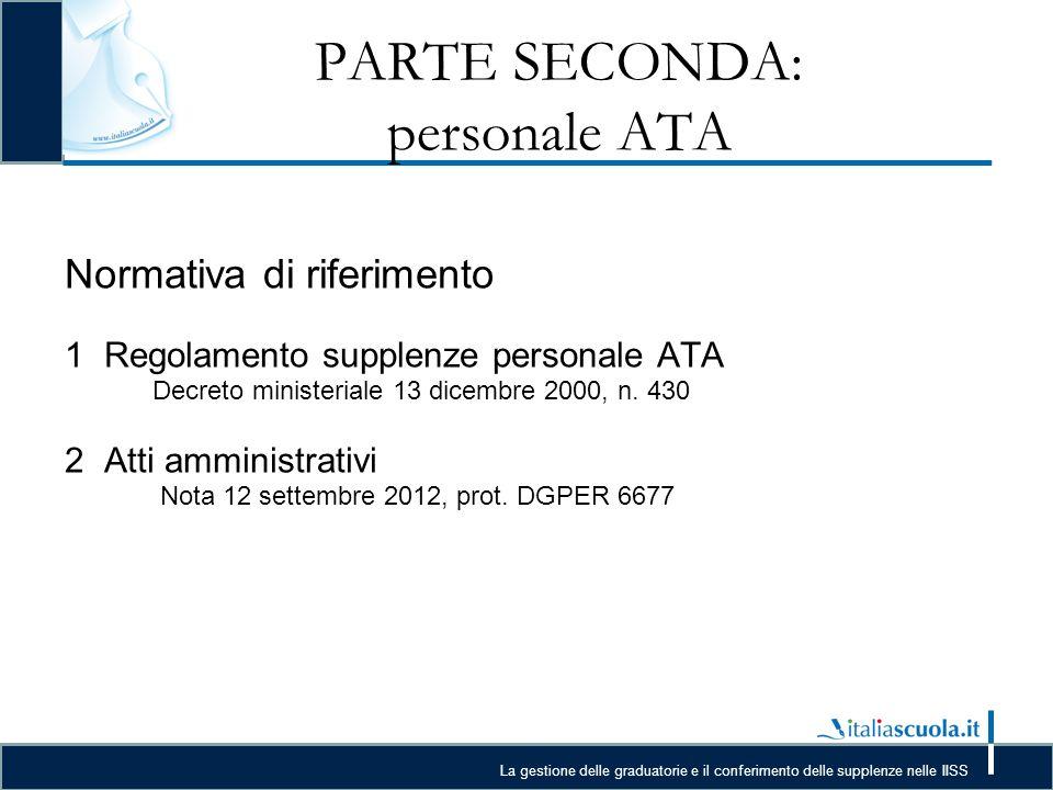 PARTE SECONDA: personale ATA