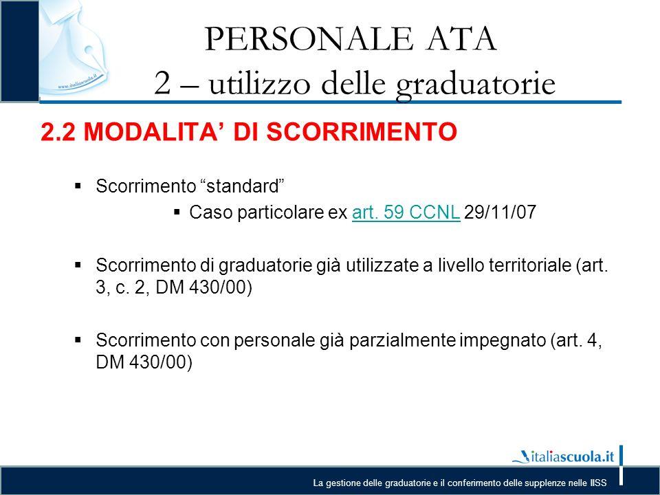 PERSONALE ATA 2 – utilizzo delle graduatorie