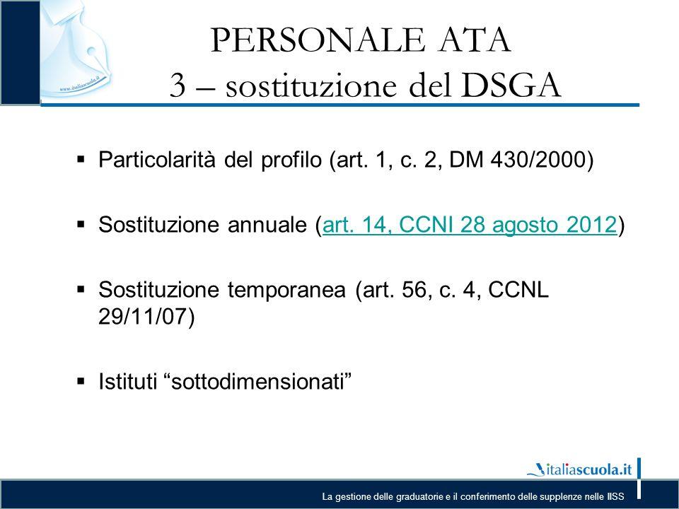 PERSONALE ATA 3 – sostituzione del DSGA