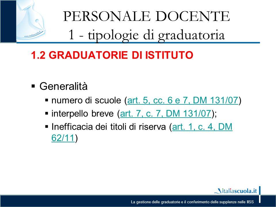 PERSONALE DOCENTE 1 - tipologie di graduatoria