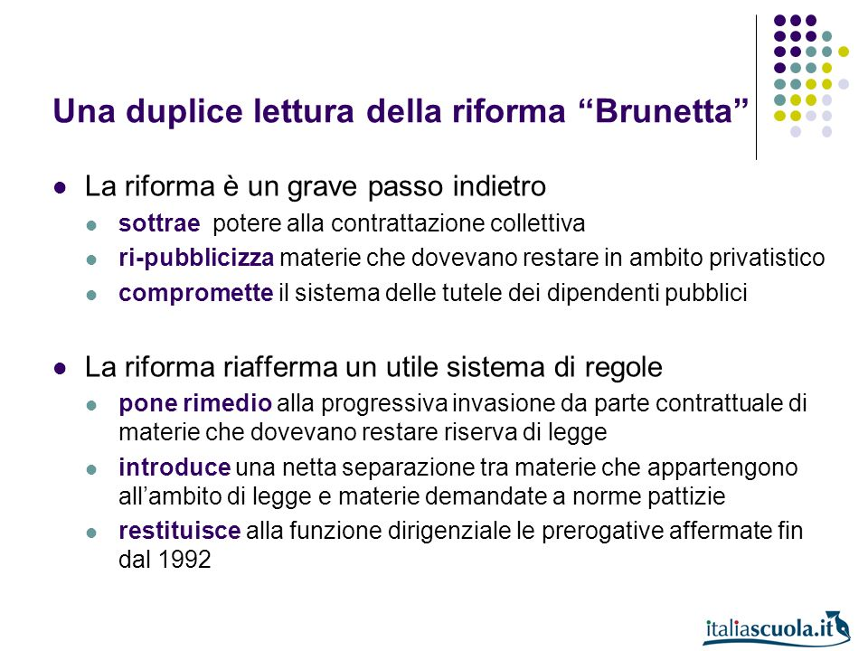 Una duplice lettura della riforma Brunetta