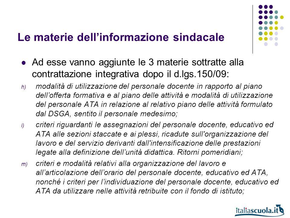 Le materie dell'informazione sindacale