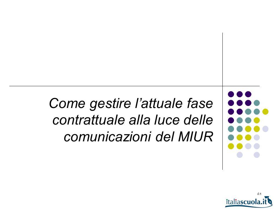 Come gestire l'attuale fase contrattuale alla luce delle comunicazioni del MIUR
