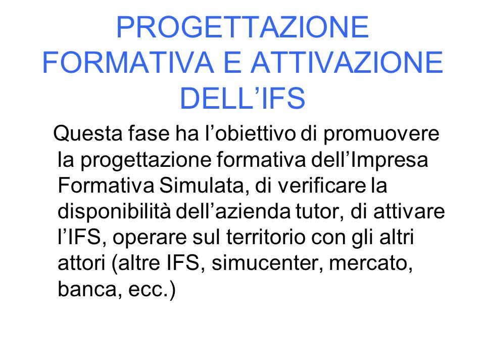 PROGETTAZIONE FORMATIVA E ATTIVAZIONE DELL'IFS