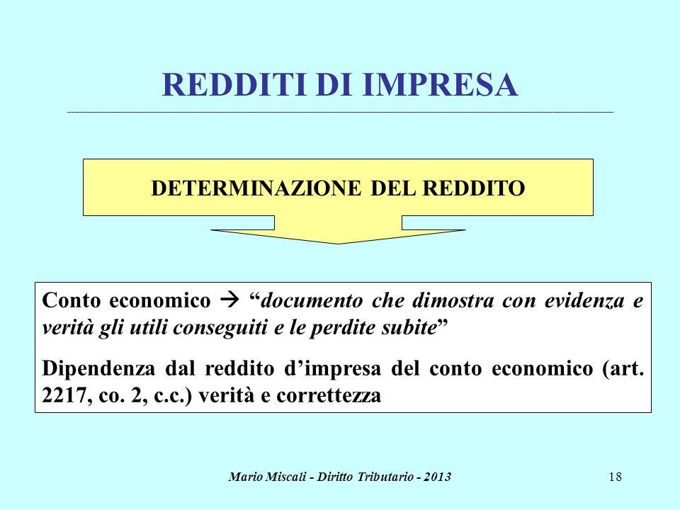 DETERMINAZIONE DEL REDDITO Mario Miscali - Diritto Tributario - 2013