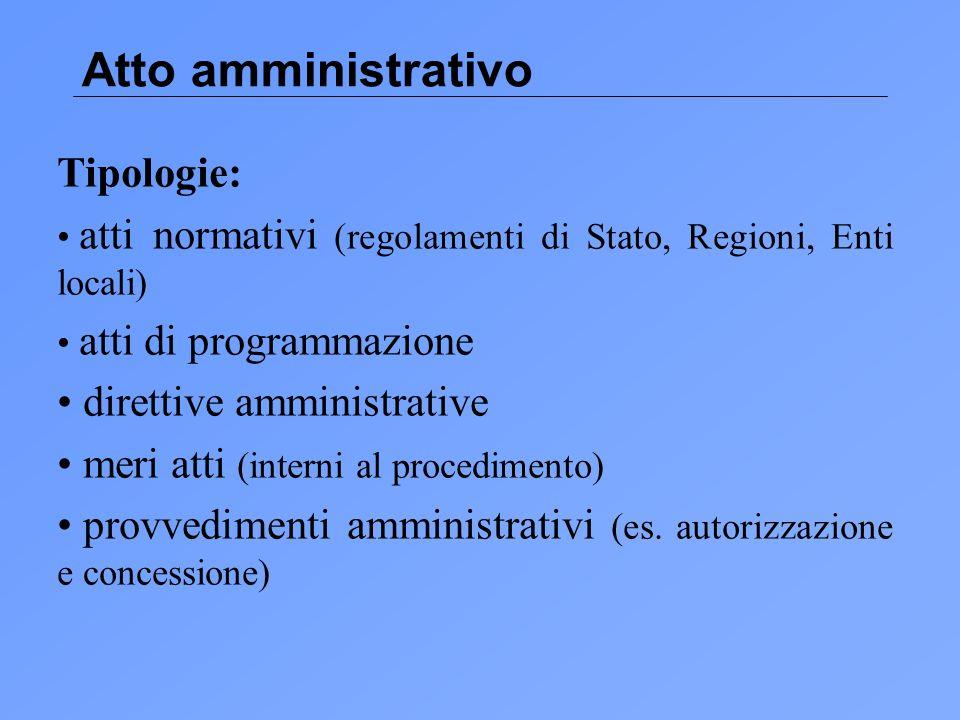 Atto amministrativo Tipologie: direttive amministrative