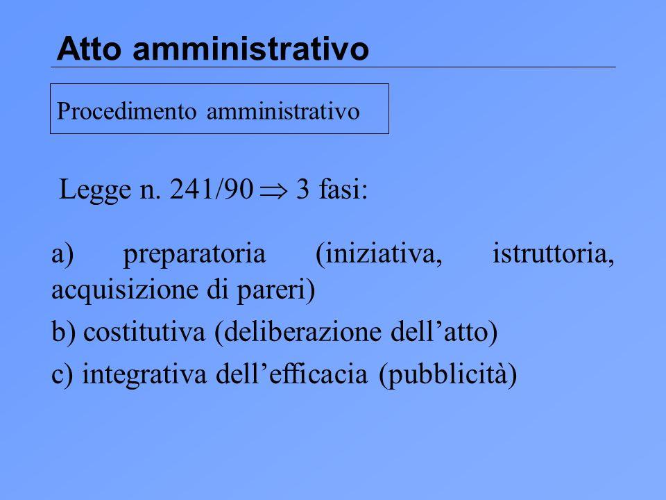 Atto amministrativo Legge n. 241/90  3 fasi: