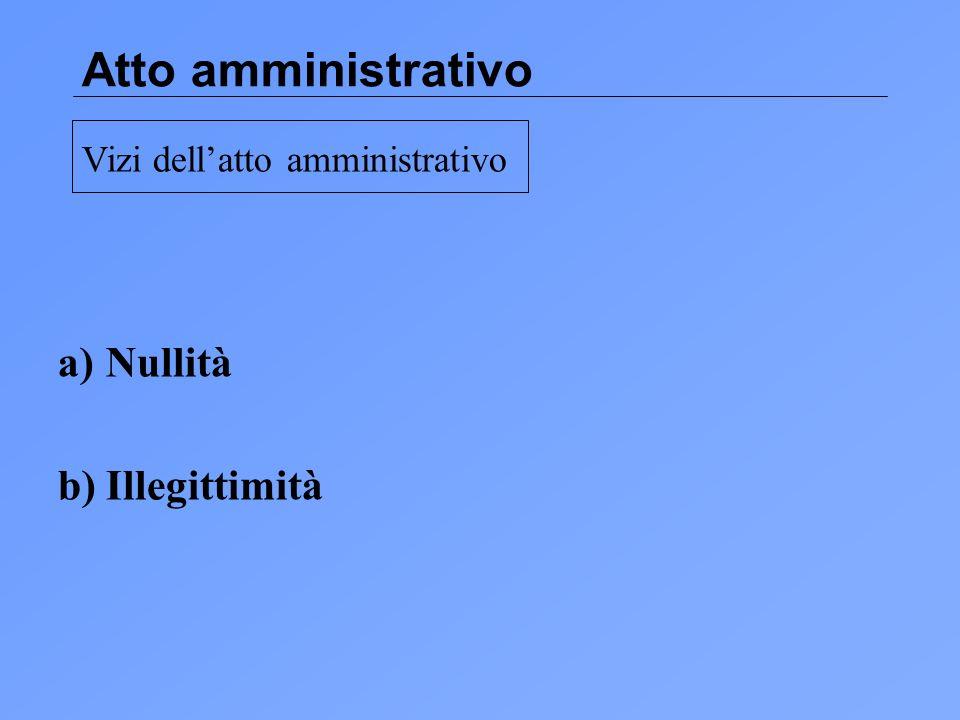 Atto amministrativo Nullità b) Illegittimità