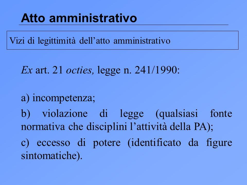 Atto amministrativo Ex art. 21 octies, legge n. 241/1990: