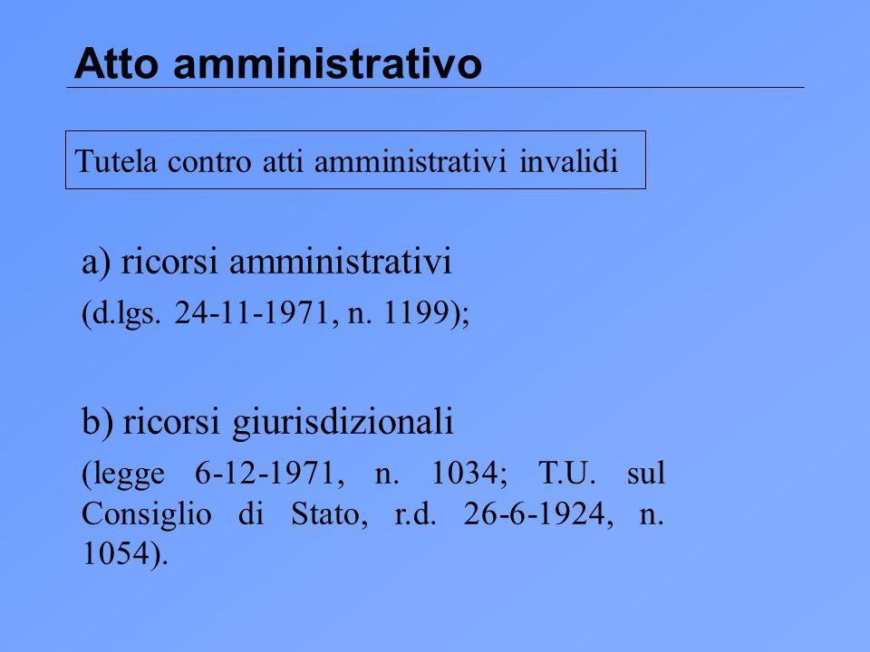 Atto amministrativo a) ricorsi amministrativi