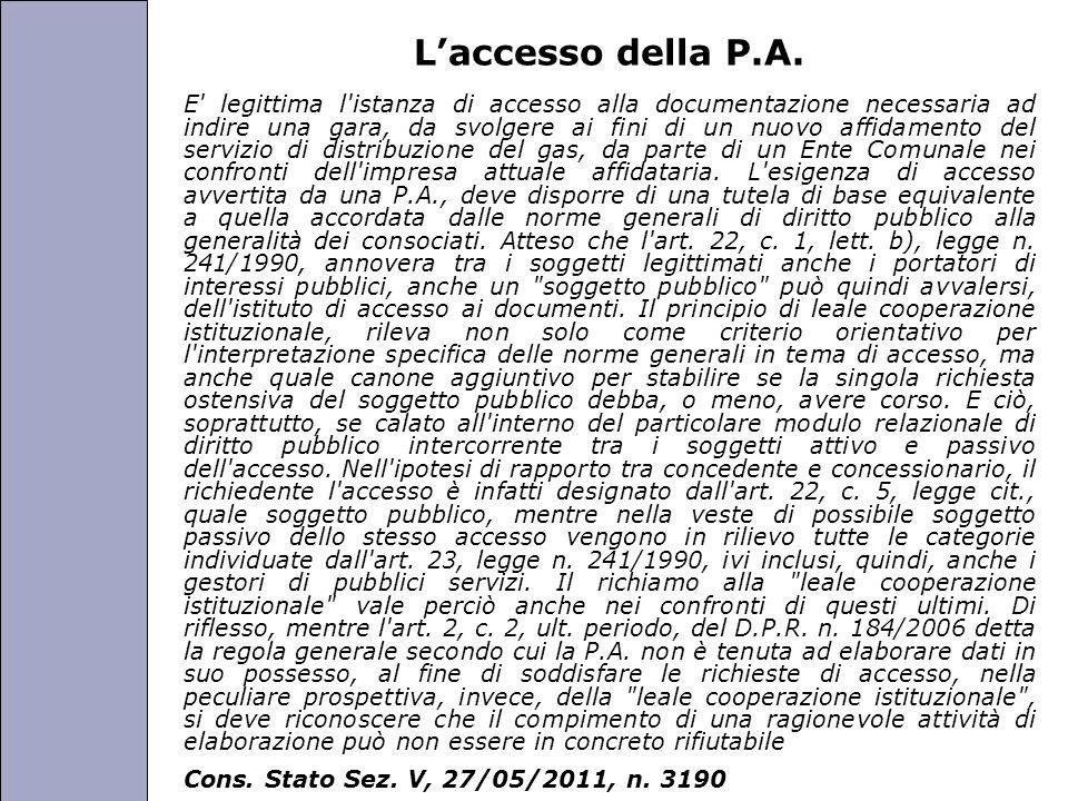 L'accesso della P.A.