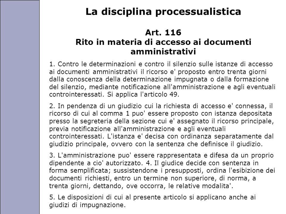 La disciplina processualistica
