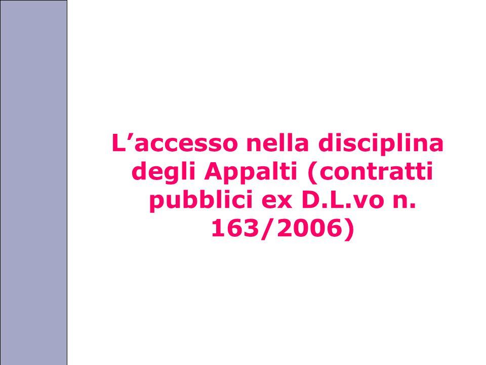 L'accesso nella disciplina degli Appalti (contratti pubblici ex D. L