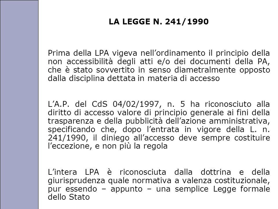 LA LEGGE N. 241/1990