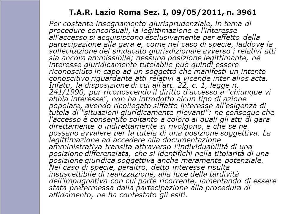 T.A.R. Lazio Roma Sez. I, 09/05/2011, n. 3961