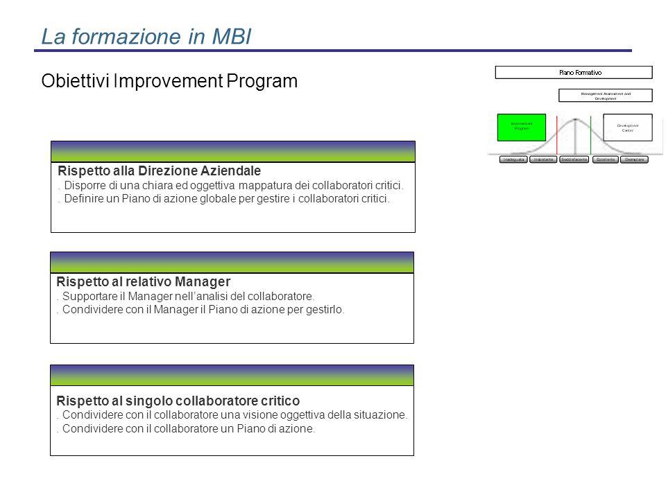 La formazione in MBI Obiettivi Improvement Program
