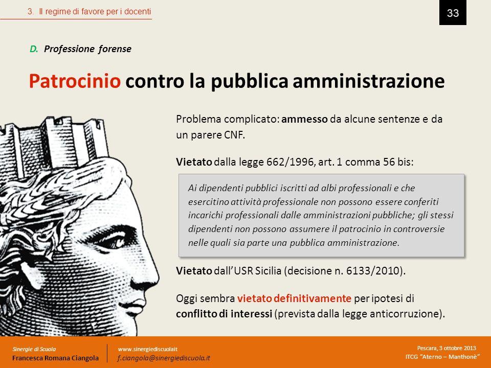 Patrocinio contro la pubblica amministrazione