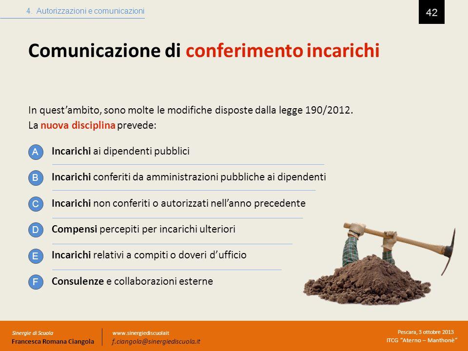 Comunicazione di conferimento incarichi