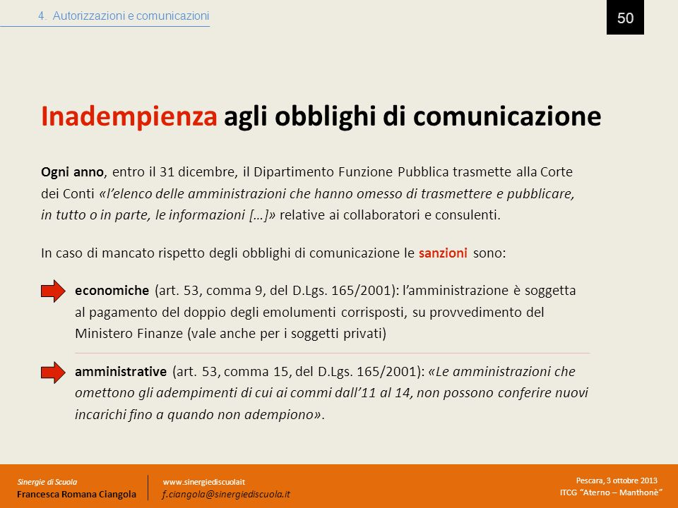 Inadempienza agli obblighi di comunicazione