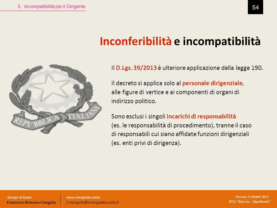 Inconferibilità e incompatibilità