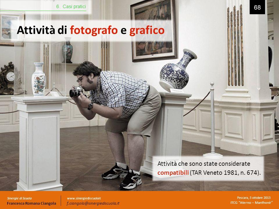 Attività di fotografo e grafico