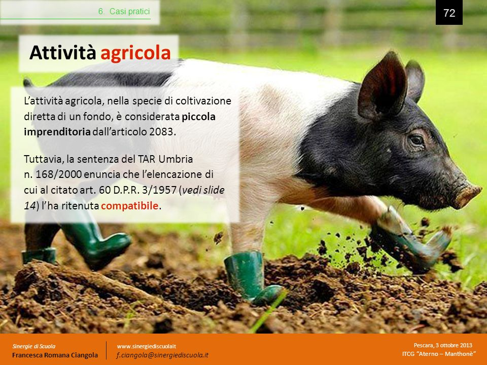 6. Casi pratici Attività agricola.