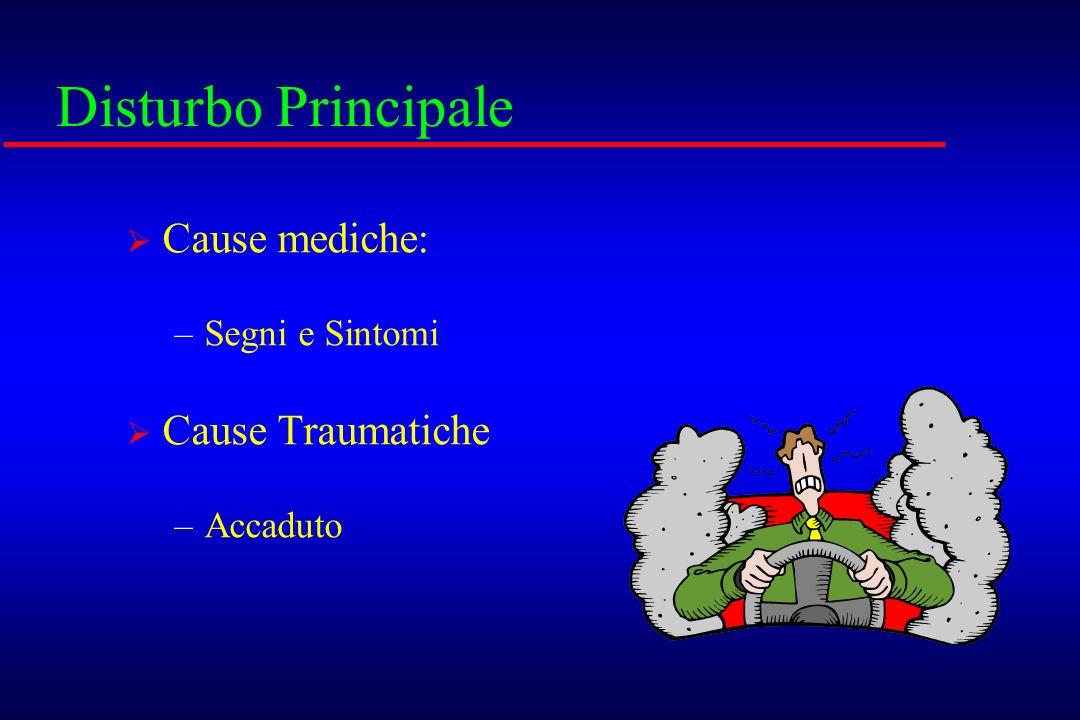 Disturbo Principale Cause mediche: Cause Traumatiche Segni e Sintomi