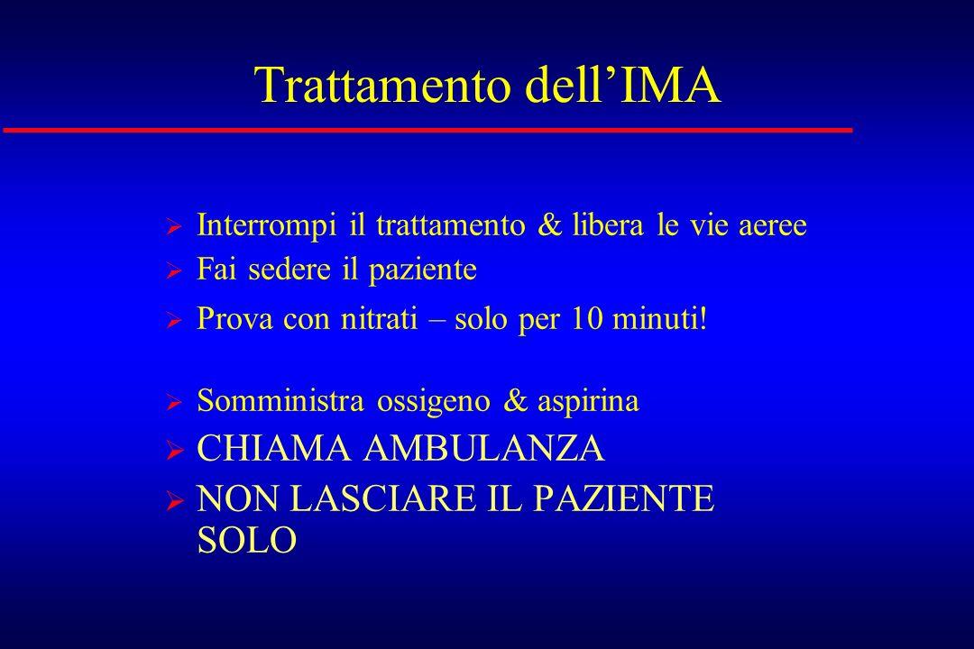 Trattamento dell'IMA CHIAMA AMBULANZA NON LASCIARE IL PAZIENTE SOLO