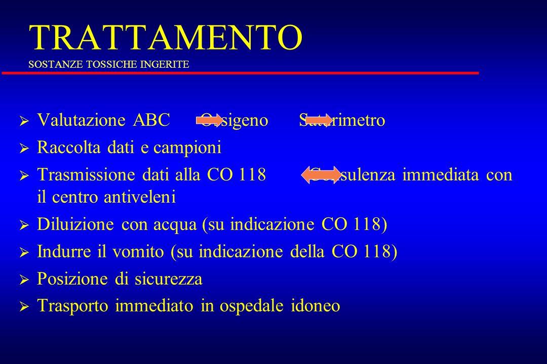 TRATTAMENTO SOSTANZE TOSSICHE INGERITE