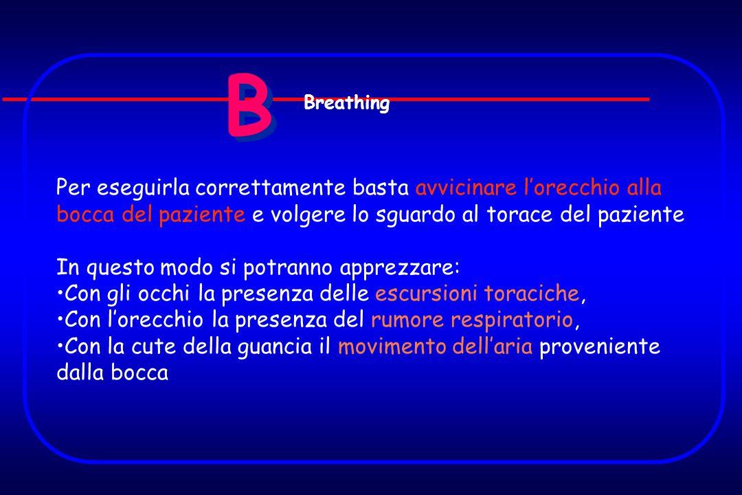 B Breathing. Per eseguirla correttamente basta avvicinare l'orecchio alla bocca del paziente e volgere lo sguardo al torace del paziente.