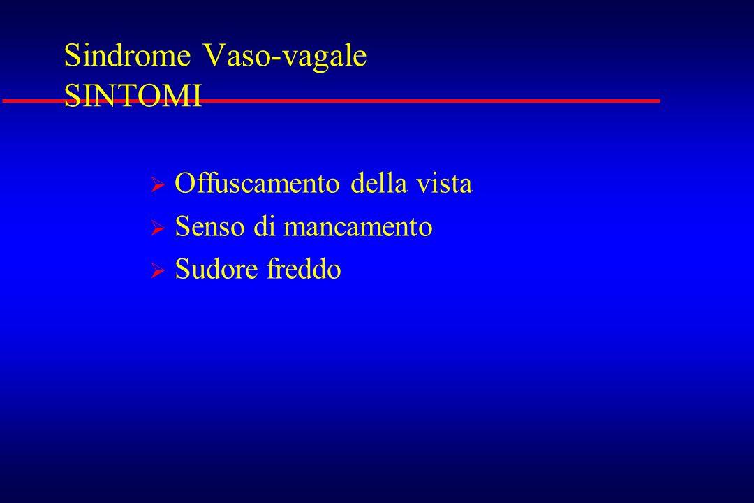 Sindrome Vaso-vagale SINTOMI