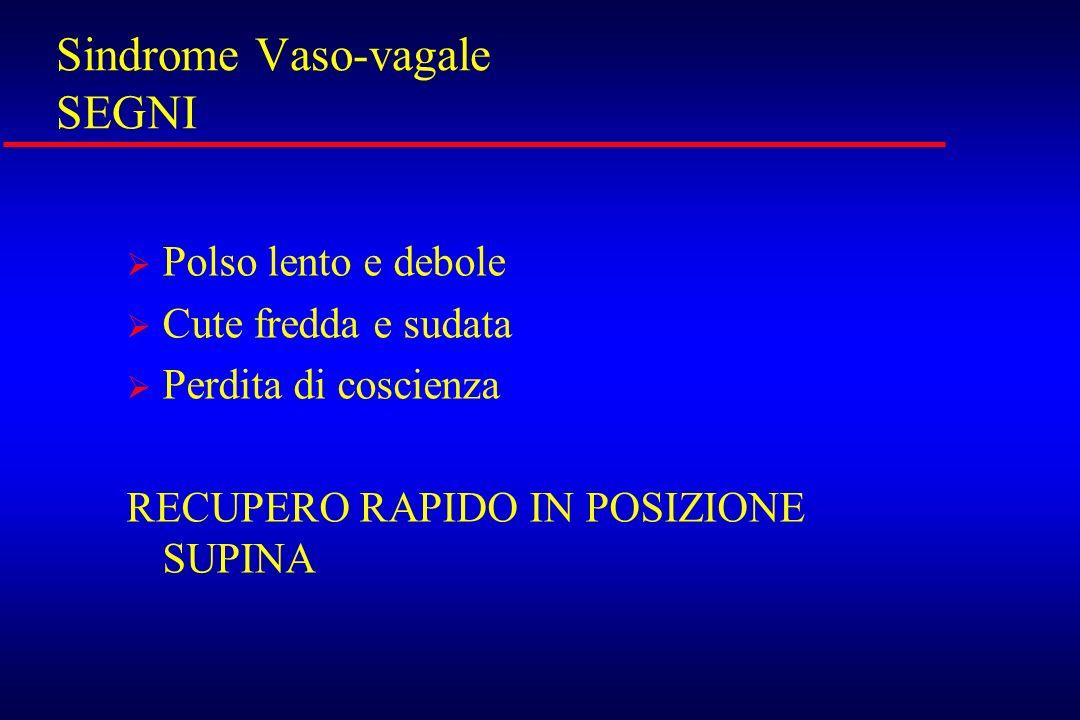 Sindrome Vaso-vagale SEGNI
