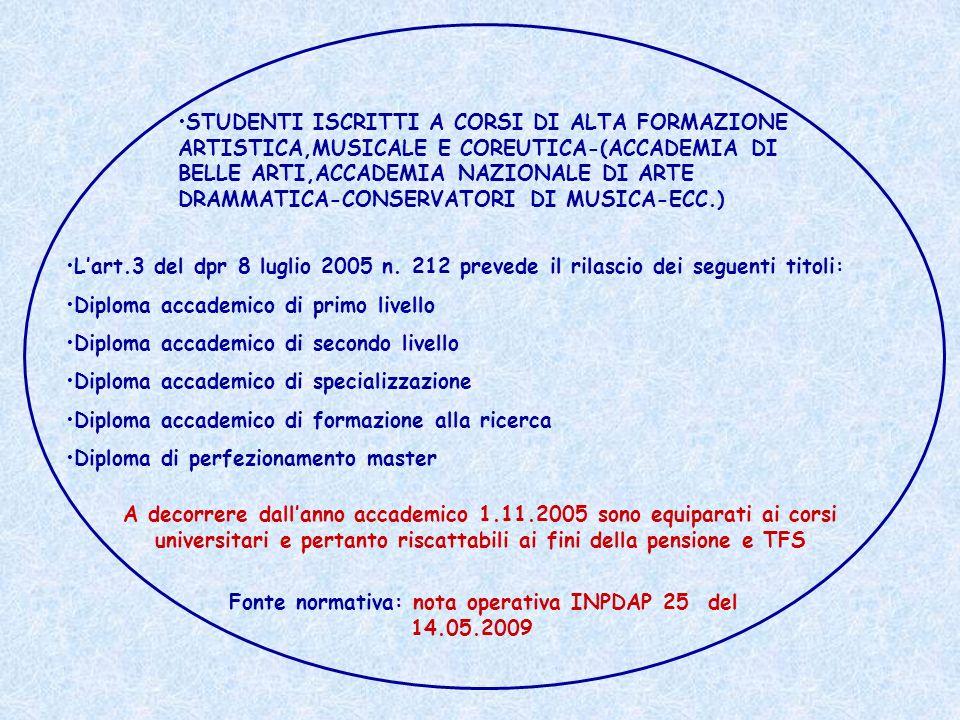 Fonte normativa: nota operativa INPDAP 25 del 14.05.2009