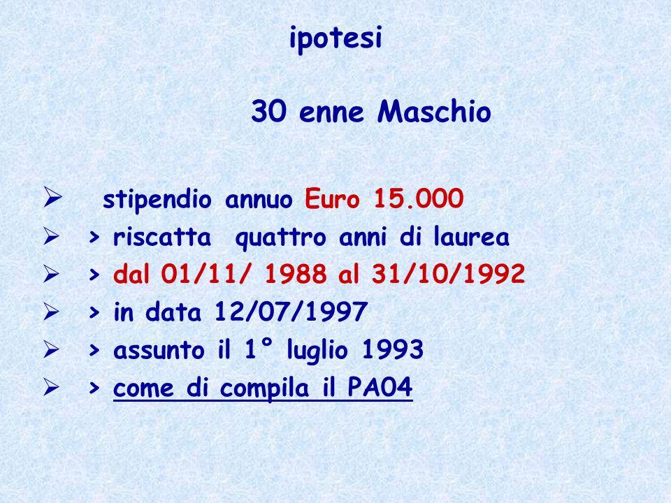 ipotesi 30 enne Maschio stipendio annuo Euro 15.000