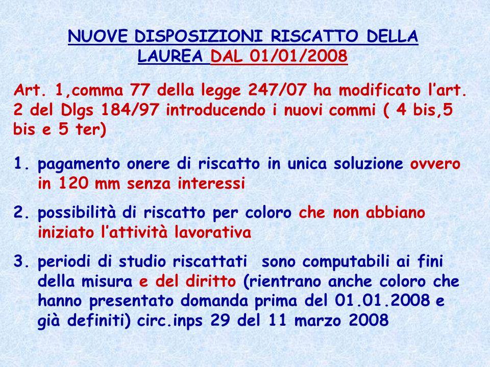 NUOVE DISPOSIZIONI RISCATTO DELLA LAUREA DAL 01/01/2008